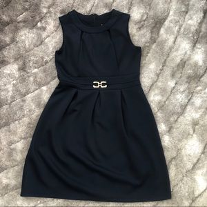 Navy Blue scuba dress with gold hardware